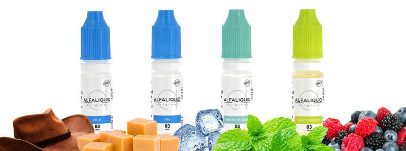 Les e-liquides Alfaliquid du Pack de découverte PockeX
